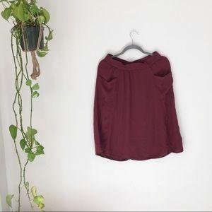 Soft Maroon Midi Skirt Pockets Medium GUC